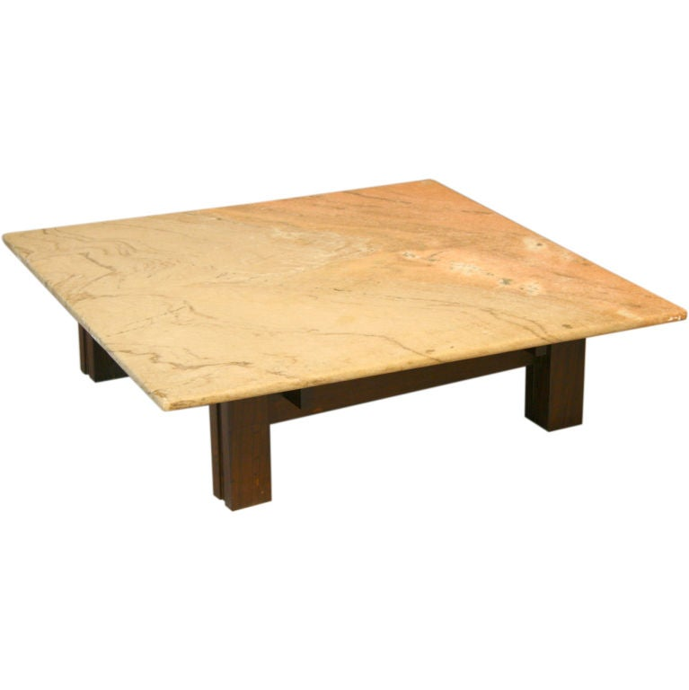 Granite Top Square Coffee Table: Square Brazilian Rosewood And Granite Coffee Table At 1stdibs