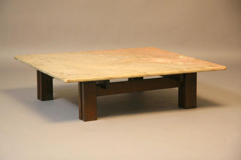 Square Brazilian Rosewood And Granite Coffee Table At 1stdibs