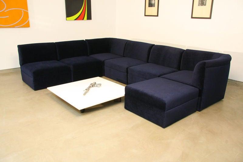 modular sectional sofa in blue mohair by milo baughman 2