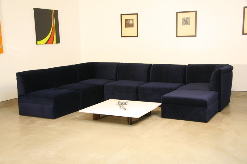 Modular sectional sofa in blue mohair by Milo Baughman at 1stdibs