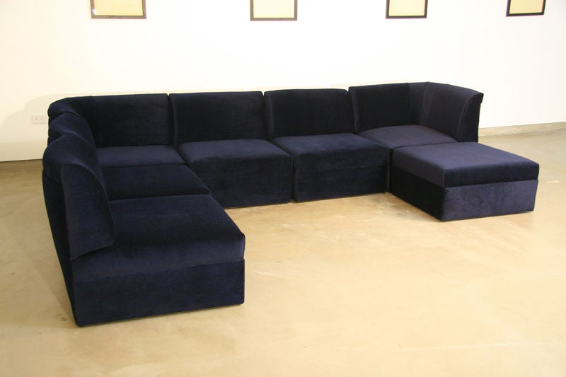 Modular Sectional Sofa In Blue Mohair By Milo Baughman At