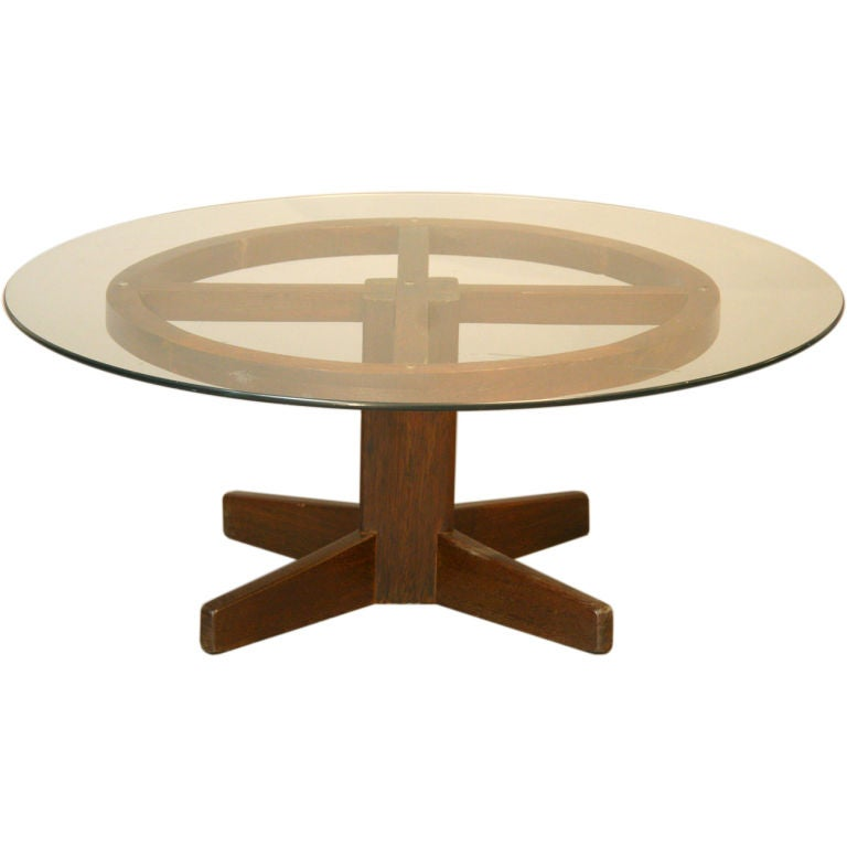 Brazilian Exotic Hardwood And Round Glass Coffee Table At 1stdibs