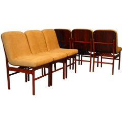 Set of 6 Brazilian Rosewood open grain leather dining chairs