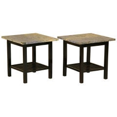 Ocean Blue Granite and Ebonized Rosewood Side Tables