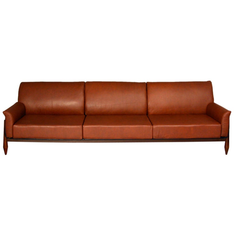 Rosewood and leather case sofa by Jorge Zalszupin at 1stdibs