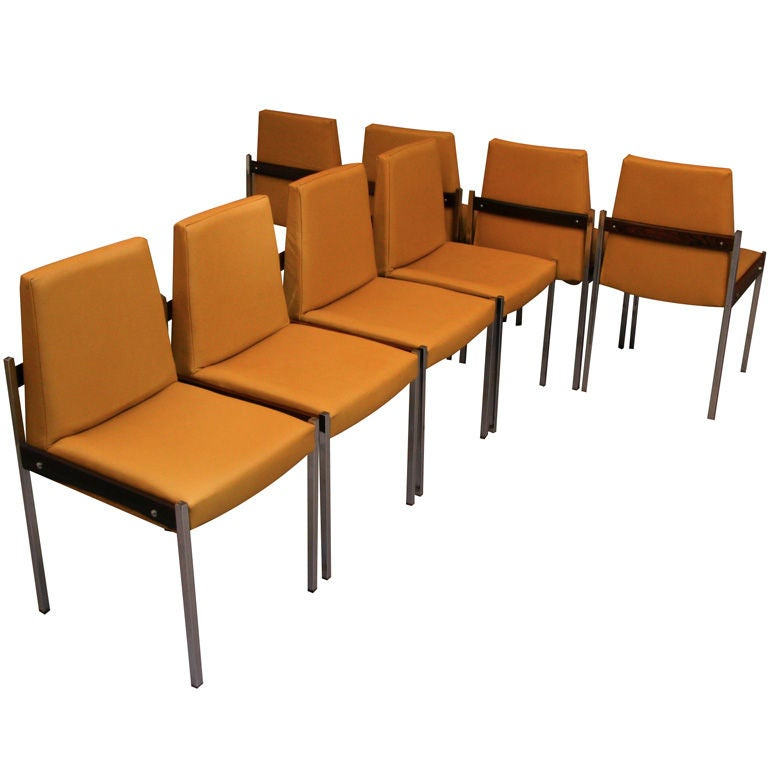 Chrome rosewood leather dining chairs by jorge zalszupin for Leather and chrome dining chairs