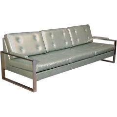 Chrome and metallic pale blue leather sofa by Milo Baughman