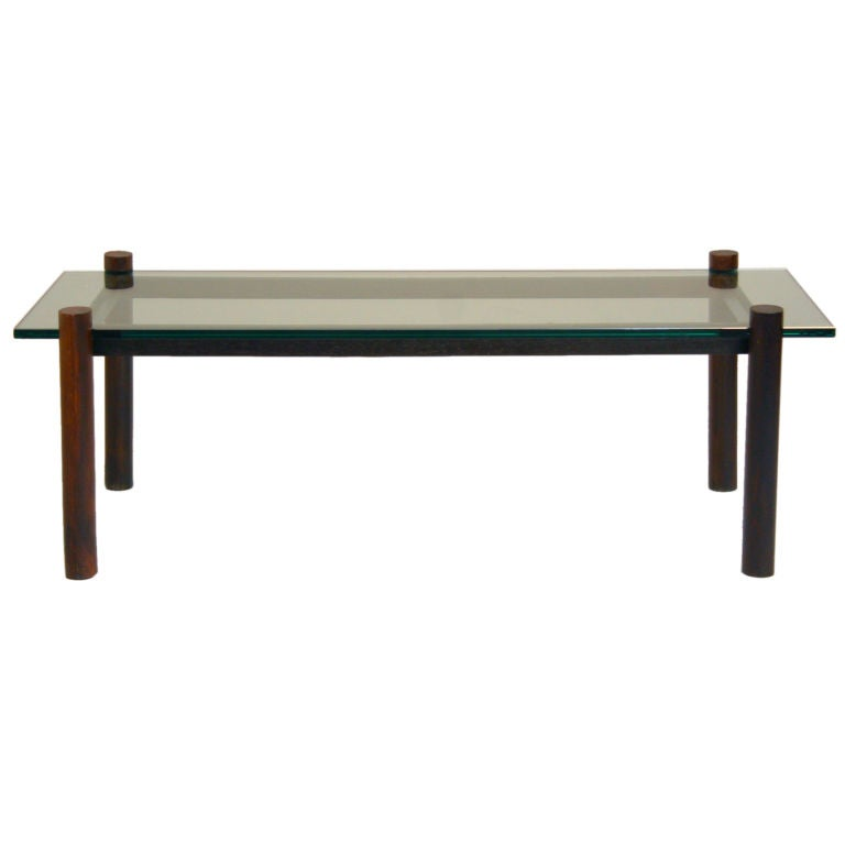 Solid Brazilian Rosewood And Glass Cantilevered Coffee Table At 1stdibs