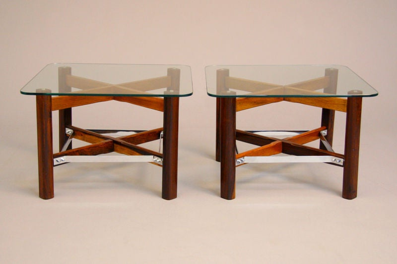 Pair of Rosewood, Chrome and Glass Side Tables from Brazil 3