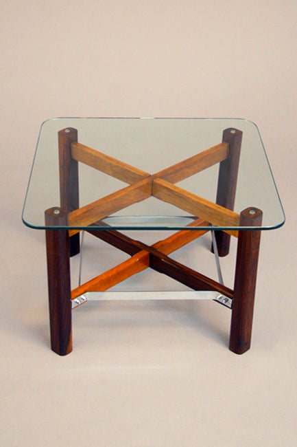 Pair of Rosewood, Chrome and Glass Side Tables from Brazil In Good Condition For Sale In Los Angeles, CA