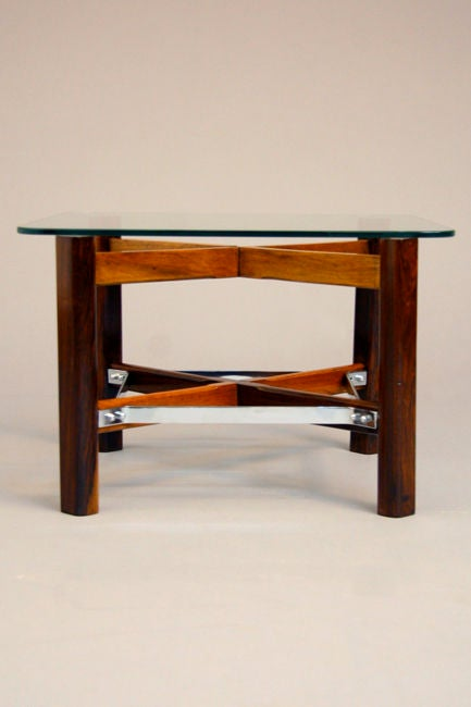 Mid-20th Century Pair of Rosewood, Chrome and Glass Side Tables from Brazil For Sale