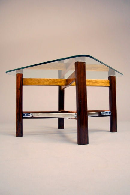 Pair of Rosewood, Chrome and Glass Side Tables from Brazil For Sale 1