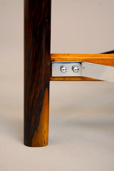 Pair of Rosewood, Chrome and Glass Side Tables from Brazil For Sale 2