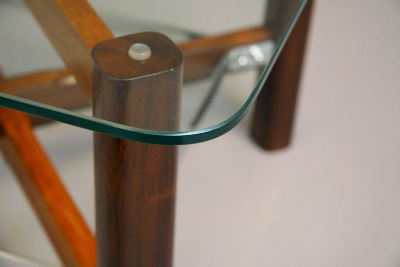 Pair of Rosewood, Chrome and Glass Side Tables from Brazil For Sale 5
