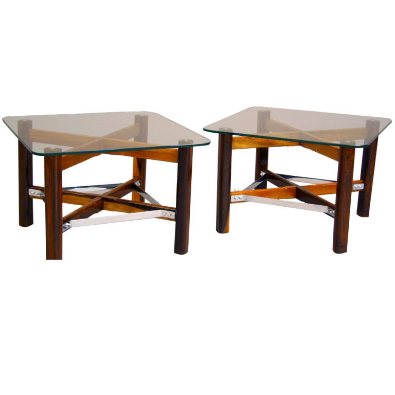 Pair of Rosewood, Chrome and Glass Side Tables from Brazil For Sale