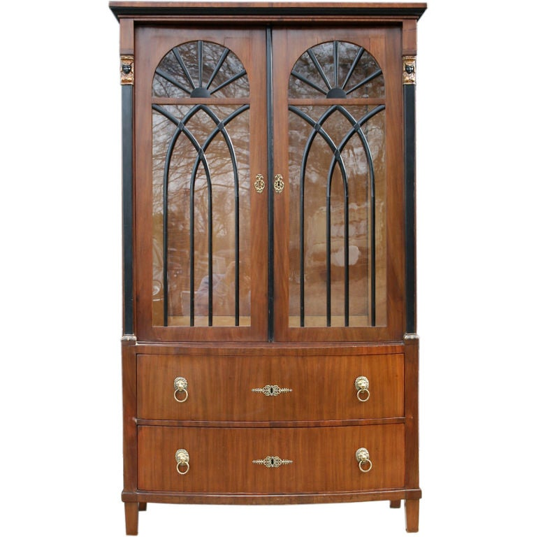 Biedermeier mahogany and ebonized wood bookcase cabinet at