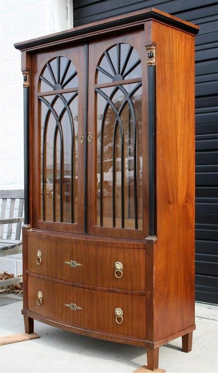 Biedermeier mahogany and ebonized wood bookcase cabinet at