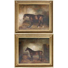 Large Pair of Horse Paintings
