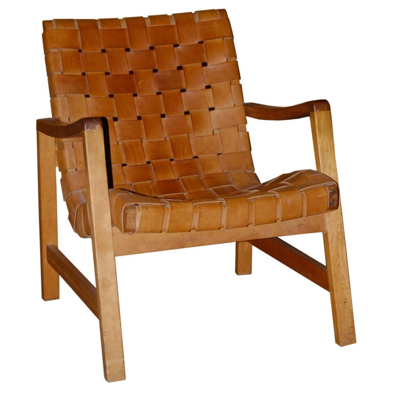 Woven Leather Lounge Chair Attributed To Erno Goldfinger