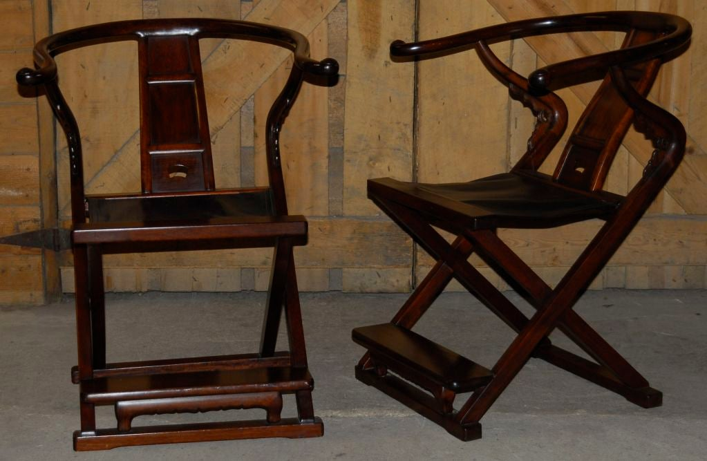 A Pair Of Vintage Classical Chinese Style Theater Chairs At 1stdibs