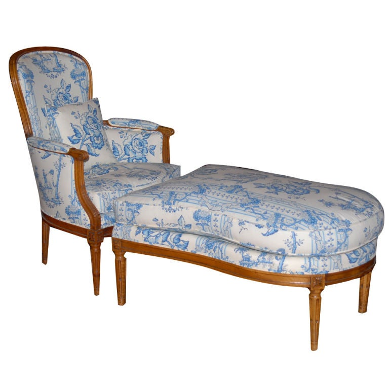 Louis xvi duchesse brisee chaise longue at 1stdibs for Chaise louis xvi