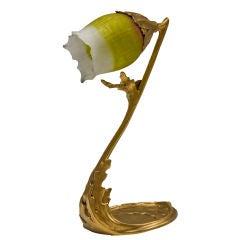 """A French Art Nouveau """"Algae"""" Decorated Desk Lamp by, Daum Nancy"""