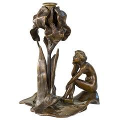 French Art Nouveau Bronze Iris Candlestick by Jozon