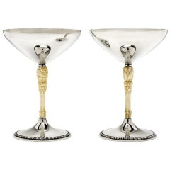 Pair of Silver Goblets with Carved Ivory Stems