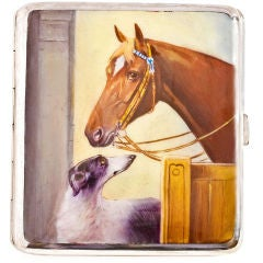 Alpaca Case with Enameled Horse and Dog