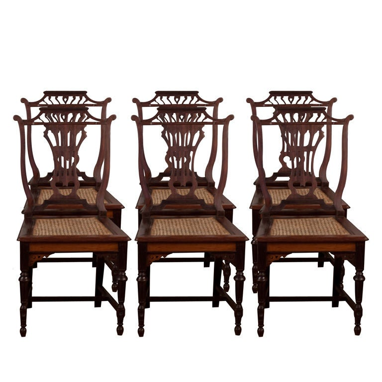 Set Of Six Anglo Indian Chairs In Rosewood And Teak At 1stdibs