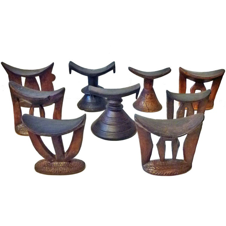 Set of Eight Ethiopian Headrests made of Wood at 1stdibs