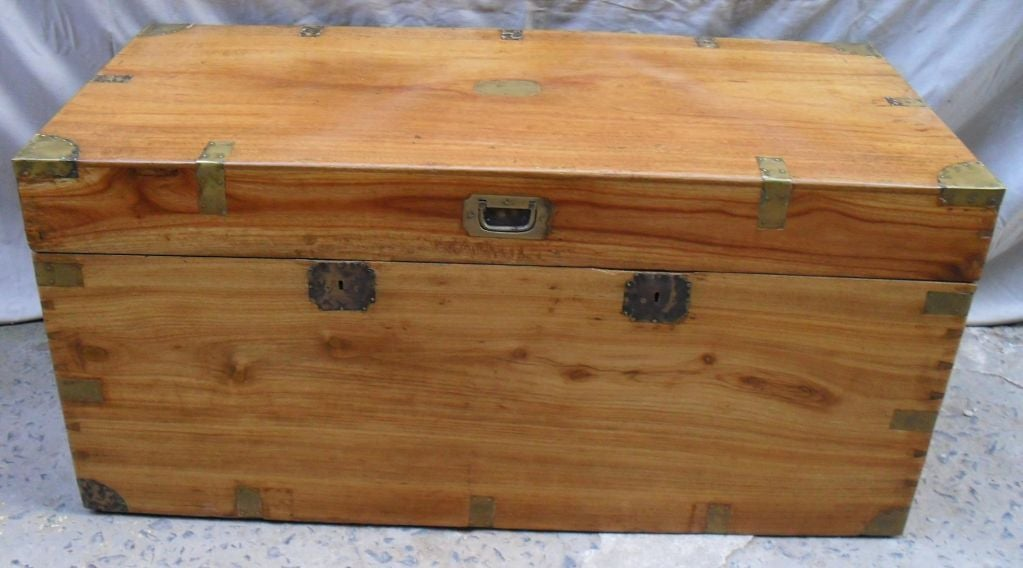 British colonial camphor wood chest with brass hardware at
