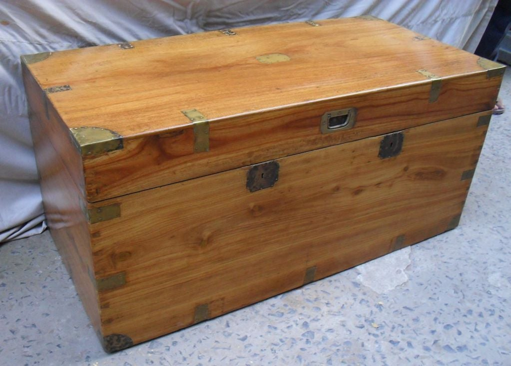 British Colonial Camphor Wood Chest with Brass Hardware at 1stdibs