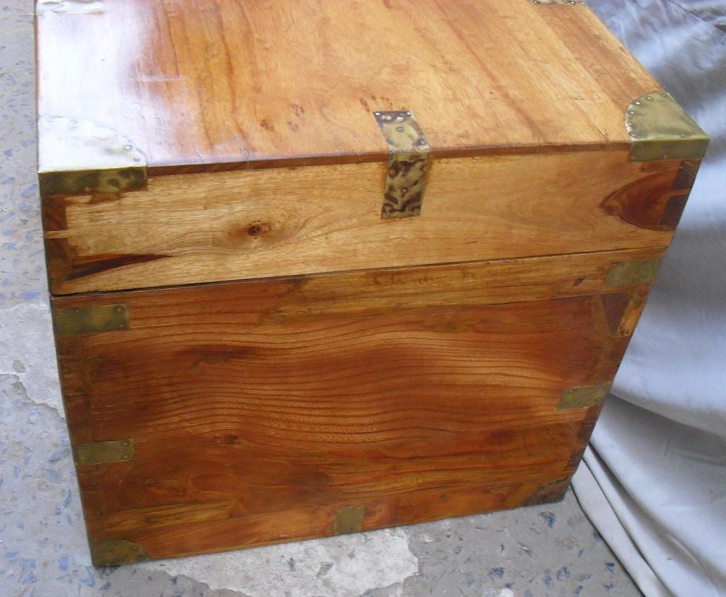 Wooden Chest Hardware ~ British colonial camphor wood chest with brass hardware at