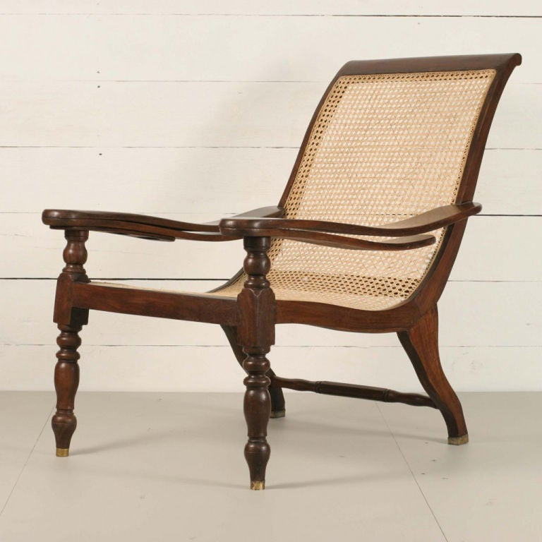 Planters Chairs: Anglo-Indian Rosewood Planters Chair With Drink Holder At