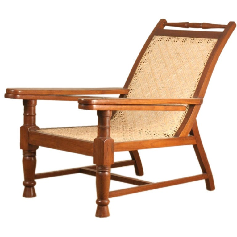 Anglo Indian Teak Planters Chair With Sliding Footrest