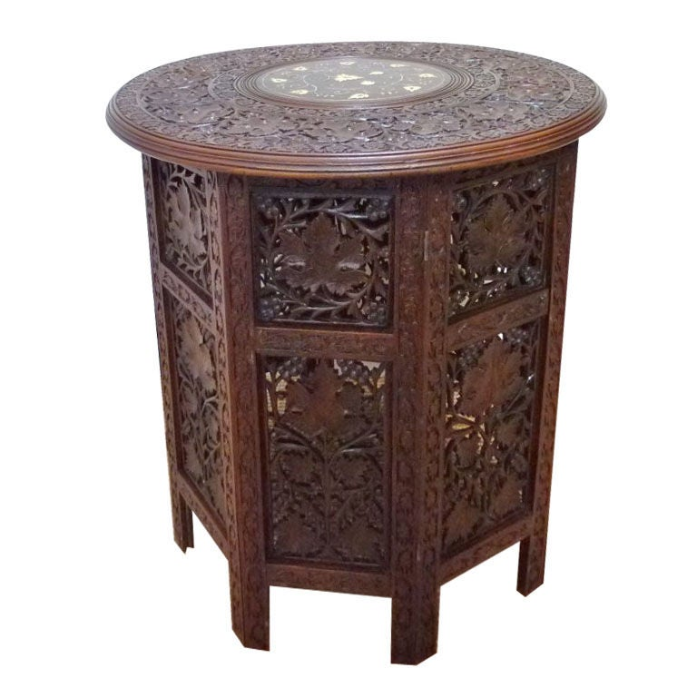 Anglo Indian Heavily Carved Rosewood Table With Folding Base At 1stdibs