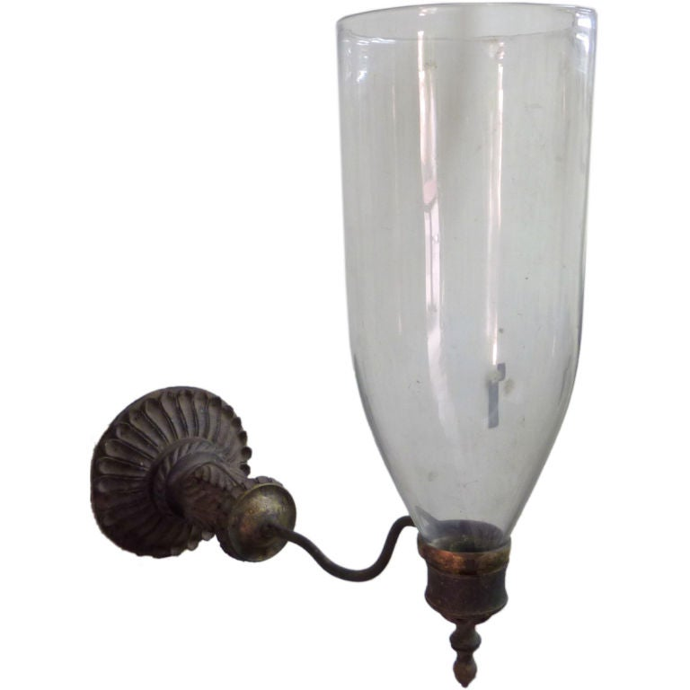 Glass Wall Sconces For Candles : Anglo-Indian Glass Wall Sconce for Candles at 1stdibs