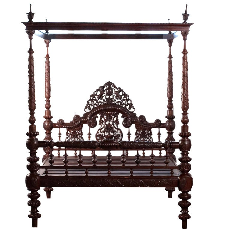 for Wooden four poster bed