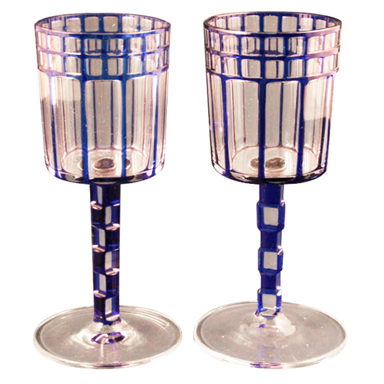 Pair Wine Glasses By Otto Prutscher At 1stdibs
