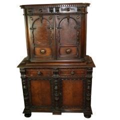 American Elizabethan Revival Walnut Cabinet
