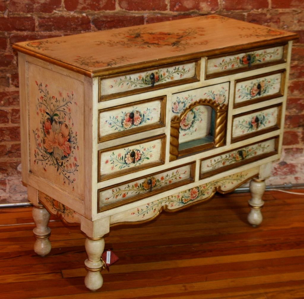 Central european hand painted 20th century chest of for Hand painted chests