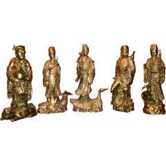 Chinese Tao Gods in Gilded Bronze