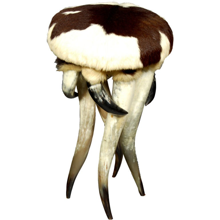Horn And Cowhide Stool For Sale At 1stdibs