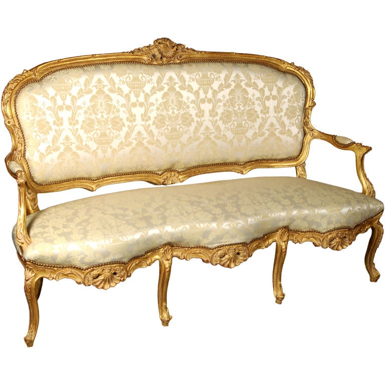 Louis XV Italianate Style Beechwood Sofa