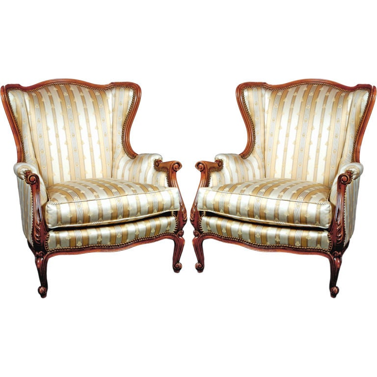 Pair of Bergere Chairs with Napoleonic Bee Upholstery