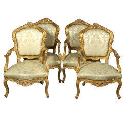 Queen Set of Italianate Style Louis XV Style Chairs
