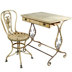 French Tin & Slate Secretary with Chair