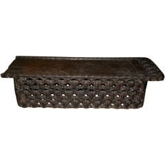 African Royal Cameroon Ceremonial Bed with Carved Buffalo Heads