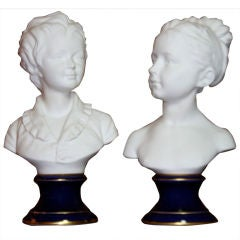Pair of Limoges Busts Signed by Gamout Labesse